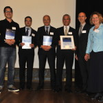 Awarding Ceremony at the Belgian Ambessy in Paris; from left to right: Tommy Gmünder (Sign-Tronic AG), Giw Aalam (Avitech GmbH), Pierre-Manuel Jacob (E.T.S. SPRL), Josef Lukas und Markus Schuster (Diehl Aircabin), Prof. Auweter-Kurtz (ASA)